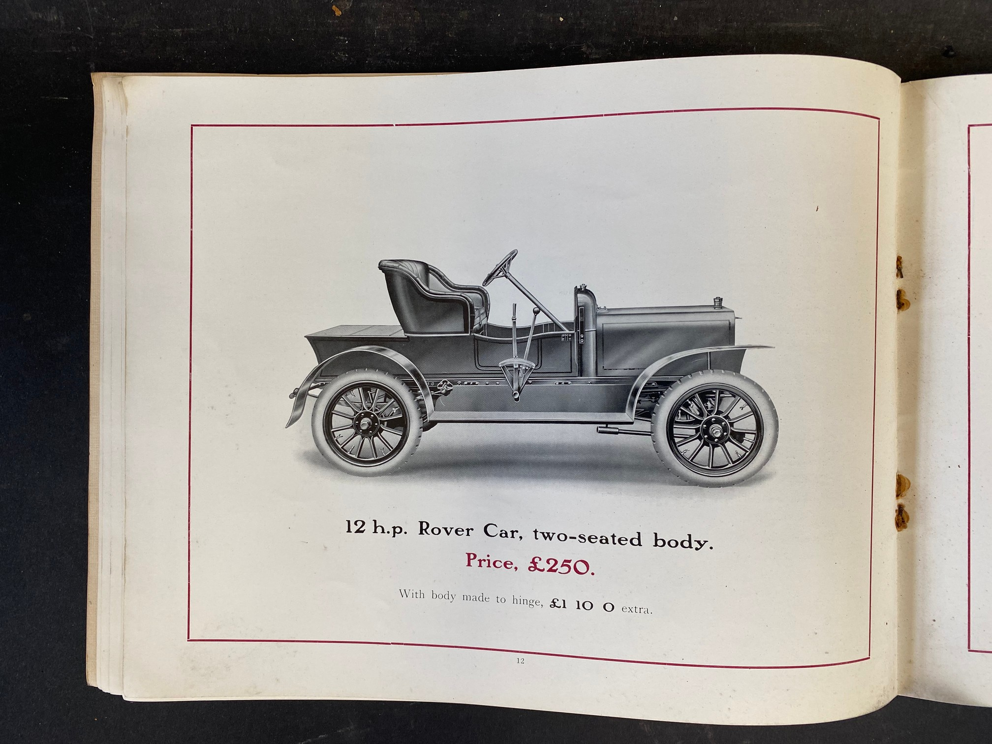 A Rover Cars sales brochure from 1909 featuring the 20hp, the 15hp, the 12hp, the 8hp and the 6hp. - Image 7 of 9