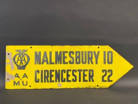 An AA & Motor Union double sided directional enamel sign by Franco, pointing to Malmesbury and