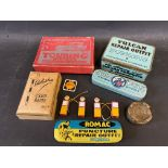 A Vulcan Repair Outfit tin in good condition, two further repair outfit tins, two motoring related