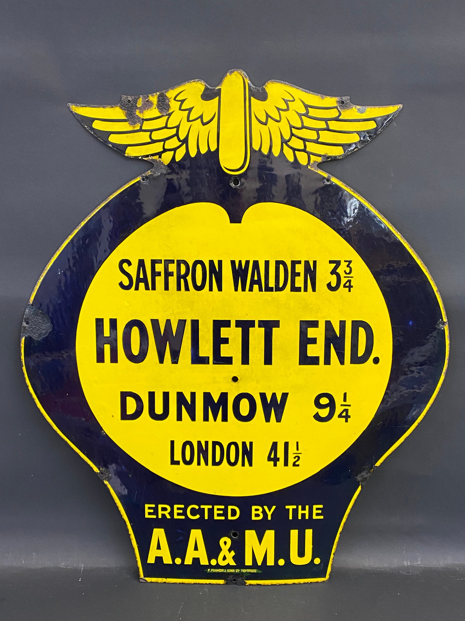 An early AA and Motor Union enamel location sign for Howlett End, Saffron Waldon 3 3/4 miles, the
