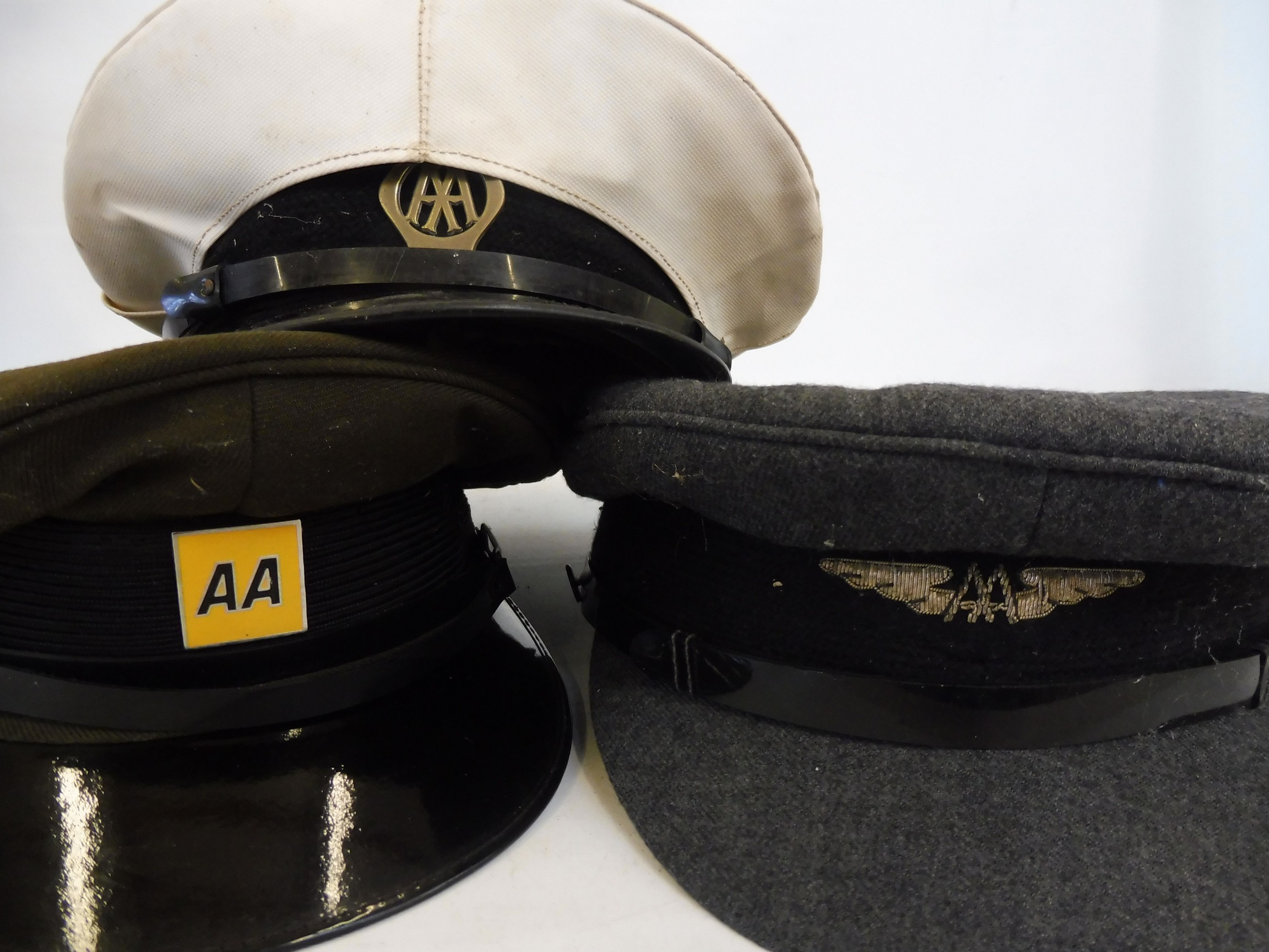 Eight original RAC and AA caps, all with badges attached. - Image 4 of 8