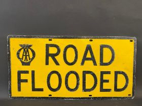 """An AA Road Flooded embossed aluminium road sign, by Hills of London, 24 x 12""""."""