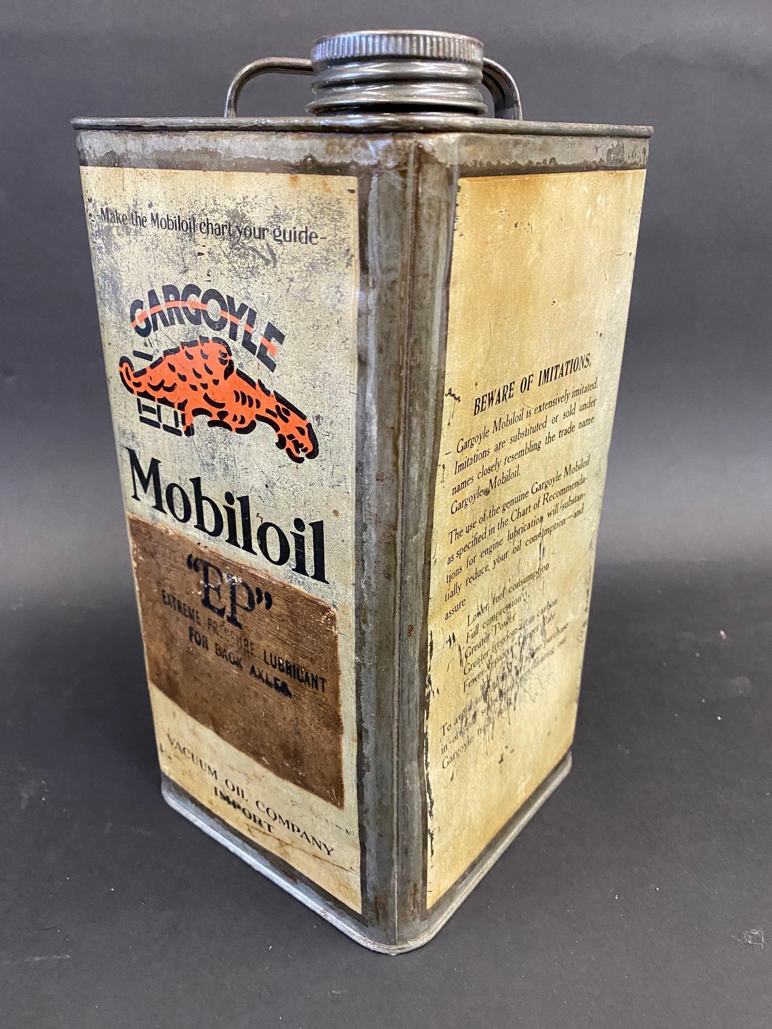 A Gargoyle Mobiloil E.P. grade (Extreme Pressure Lubricant) square gallon can. - Image 2 of 4