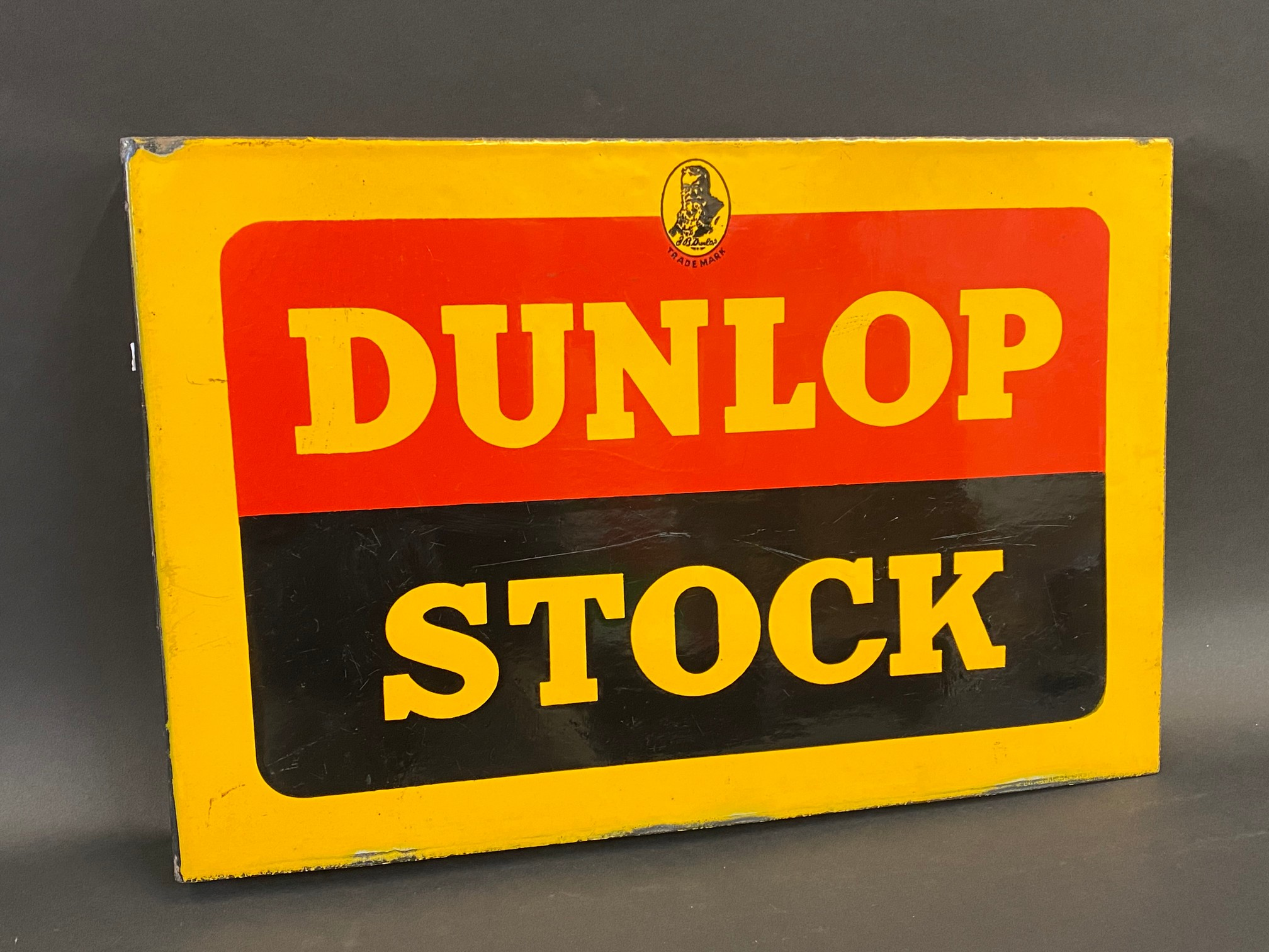 """A Dunlop Stock double sided enamel sign with hanging flange, in excellent condition, 18 x 12"""". - Image 3 of 4"""