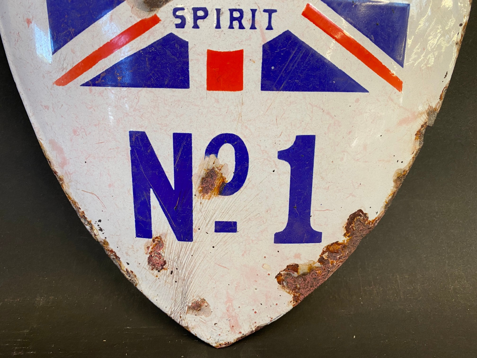 A BP Motor Spirit 'Guaranteed No. 1' shield shaped curved enamel sign with central union jack, 9 x - Image 2 of 4