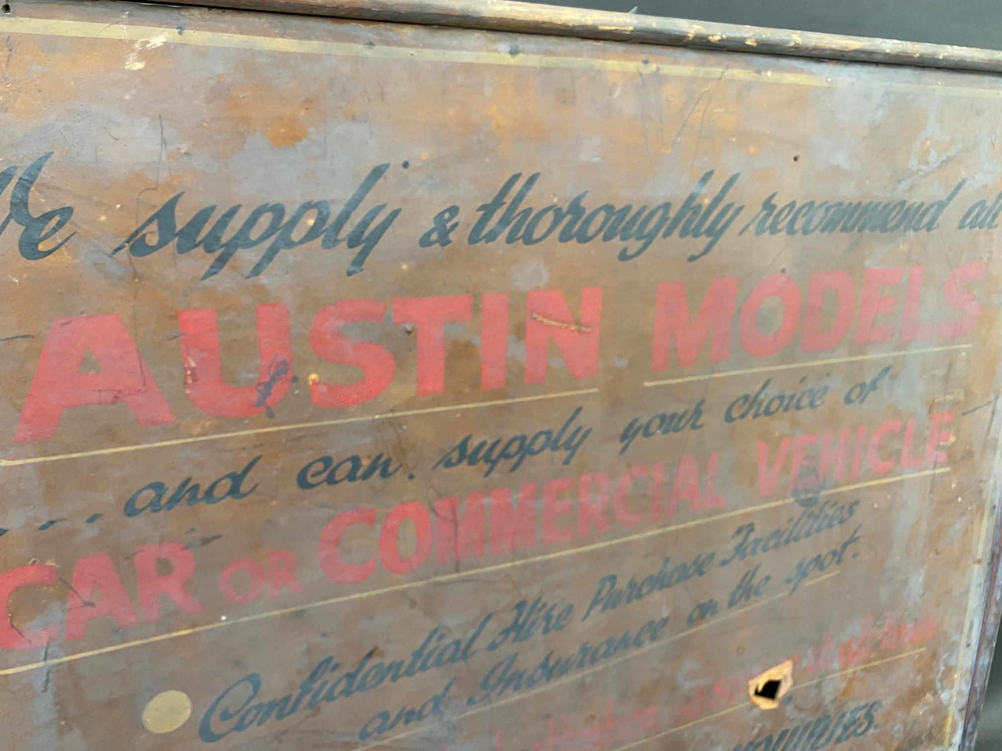 An early garage wooden framed advertising sign for Austin models, car or commercial (recently - Image 3 of 4