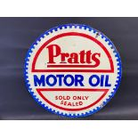 A Pratts Motor Oil circualar double sided enamel sign dated September 1930, with small areas of