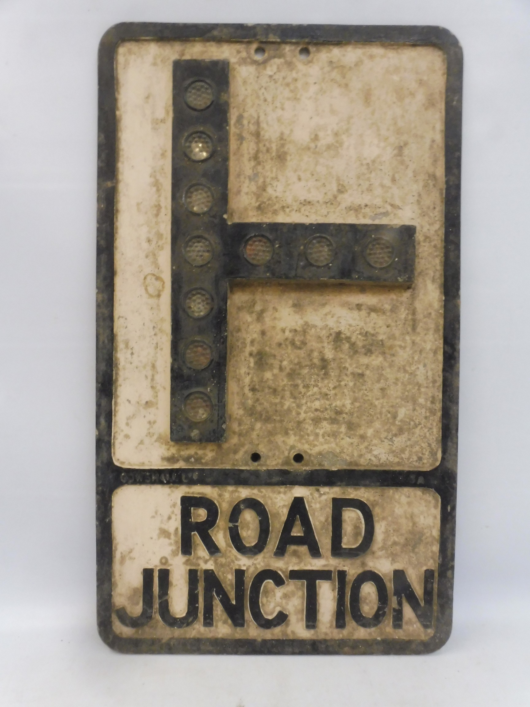 """An aluminium road sign by Gowshall Limited - Road Junction, with ten reflective discs, 12x 21""""."""