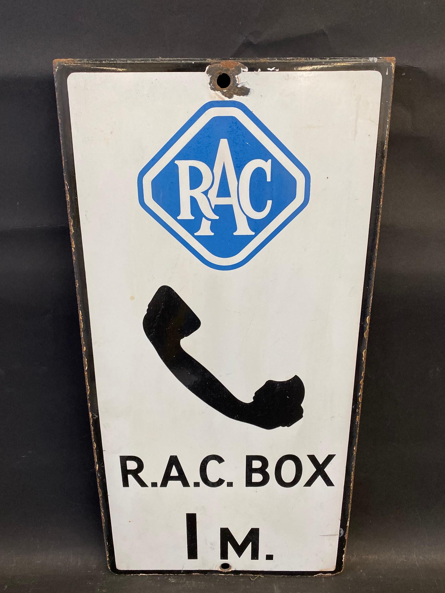 "An RAC Box 1 mile rectangular enamel sign, 10 x 20""."