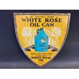 """A White Rose oil can shield-shaped pictorial tin advertising sign, 9 1/4 x 11 1/2""""."""