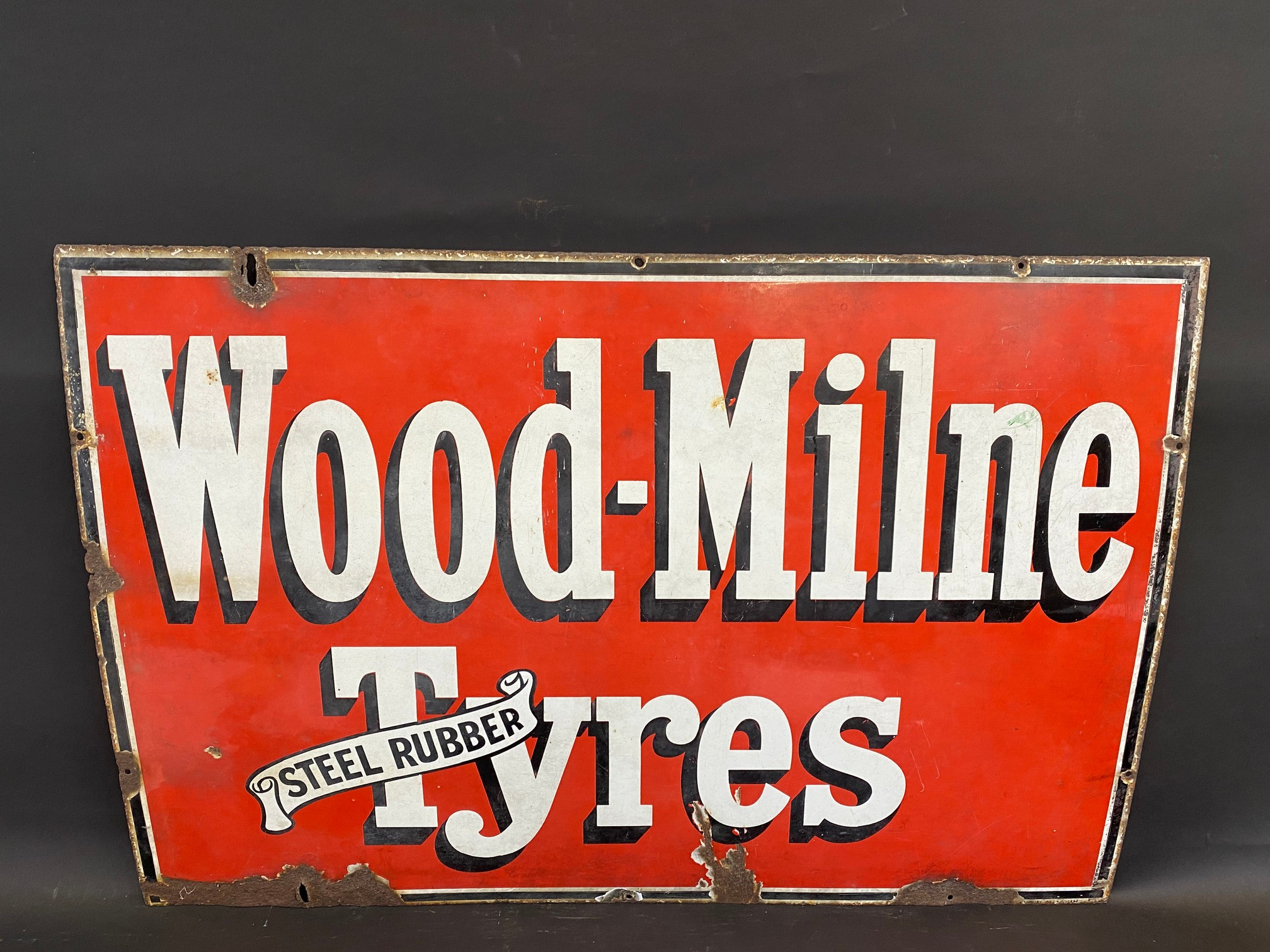 "A Wood-Milne Tyres rectangular enamel sign, 36 x 24""."