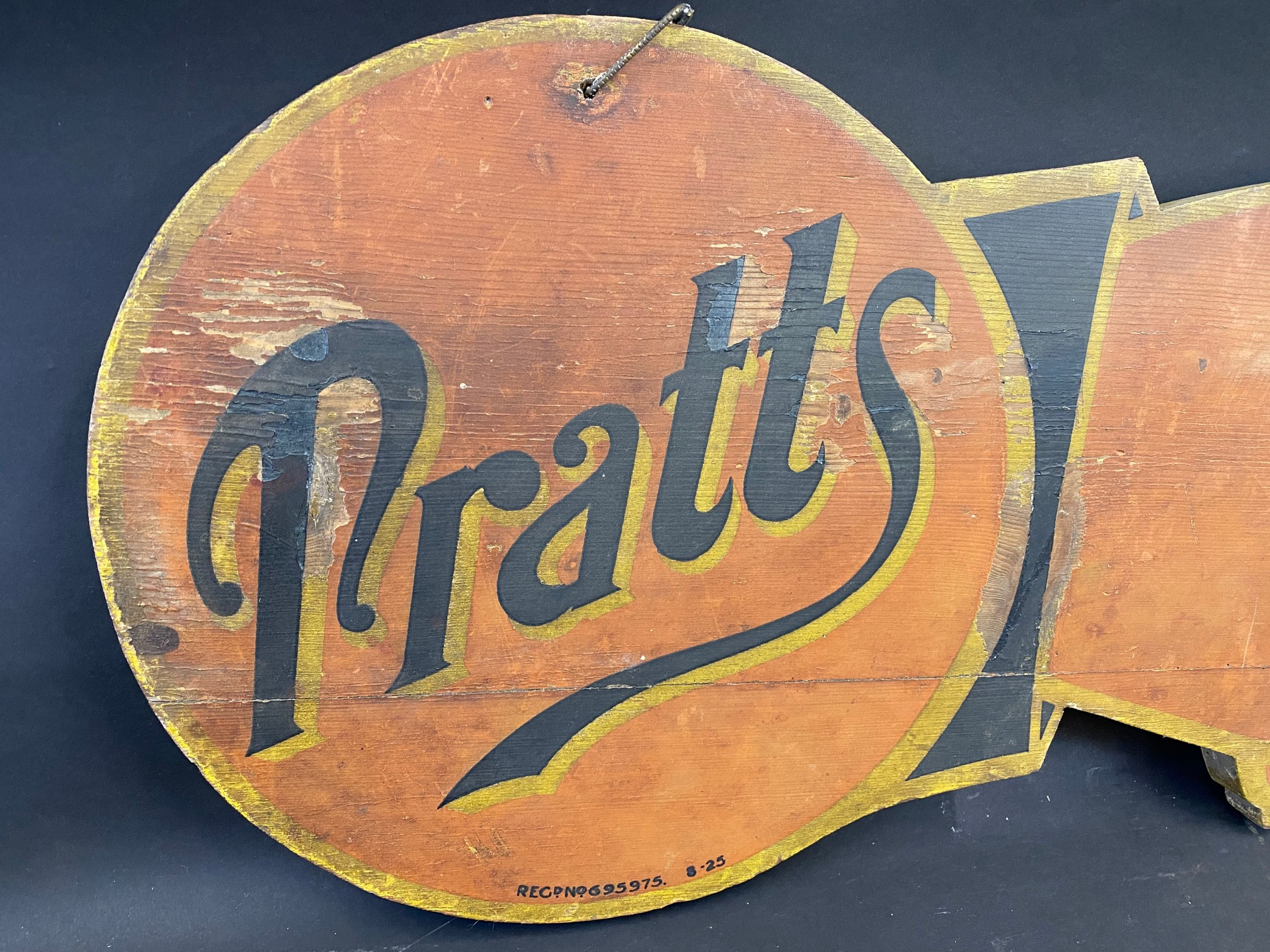 """An early Pratts painted wooden double sided directional 'pointing finger' sign dated 1925, 39 x 12"""". - Image 2 of 6"""
