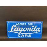 "A reproduction Lagonda Cars rectangular enamel sign, 24 x 12""."