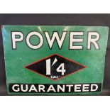 """A Power Guaranteed '1'4 Gall' rectangular enamel sign, with some restoration, 40 x 27 1/2""""."""
