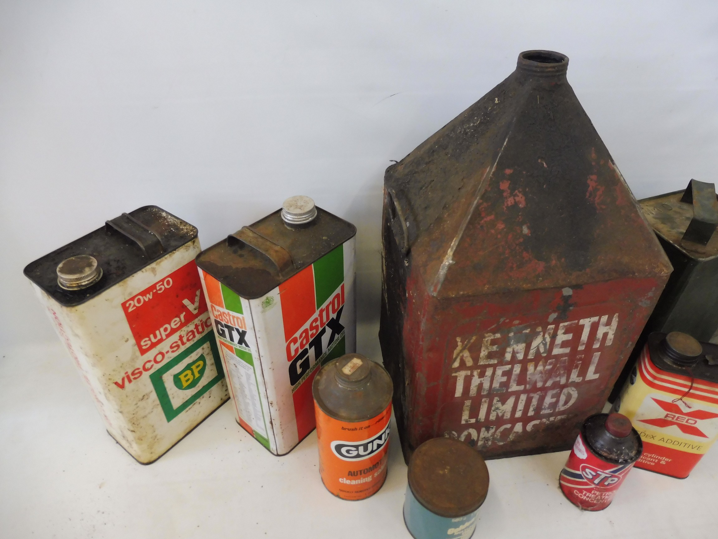 Two crates of assorted oil cans, a funnel etc. - Image 3 of 6