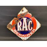 """An R.A.C. Repairer lozenge shaped double sided enamel sign, 28 x 28""""."""