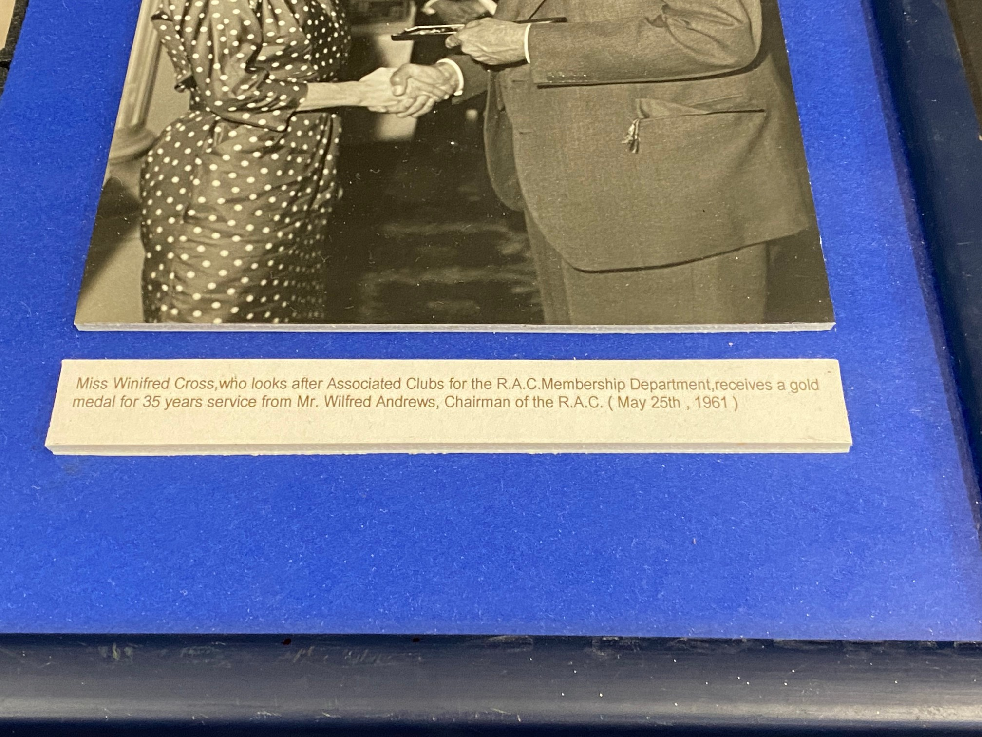 A framed and glazed RAC medal for 35 years service presented to Miss Winifred Cross, who looked - Image 2 of 4