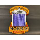 """A Morris Trucks double sided radiator shaped die-cut enamel sign, in excellent condition, 16 x 22""""."""