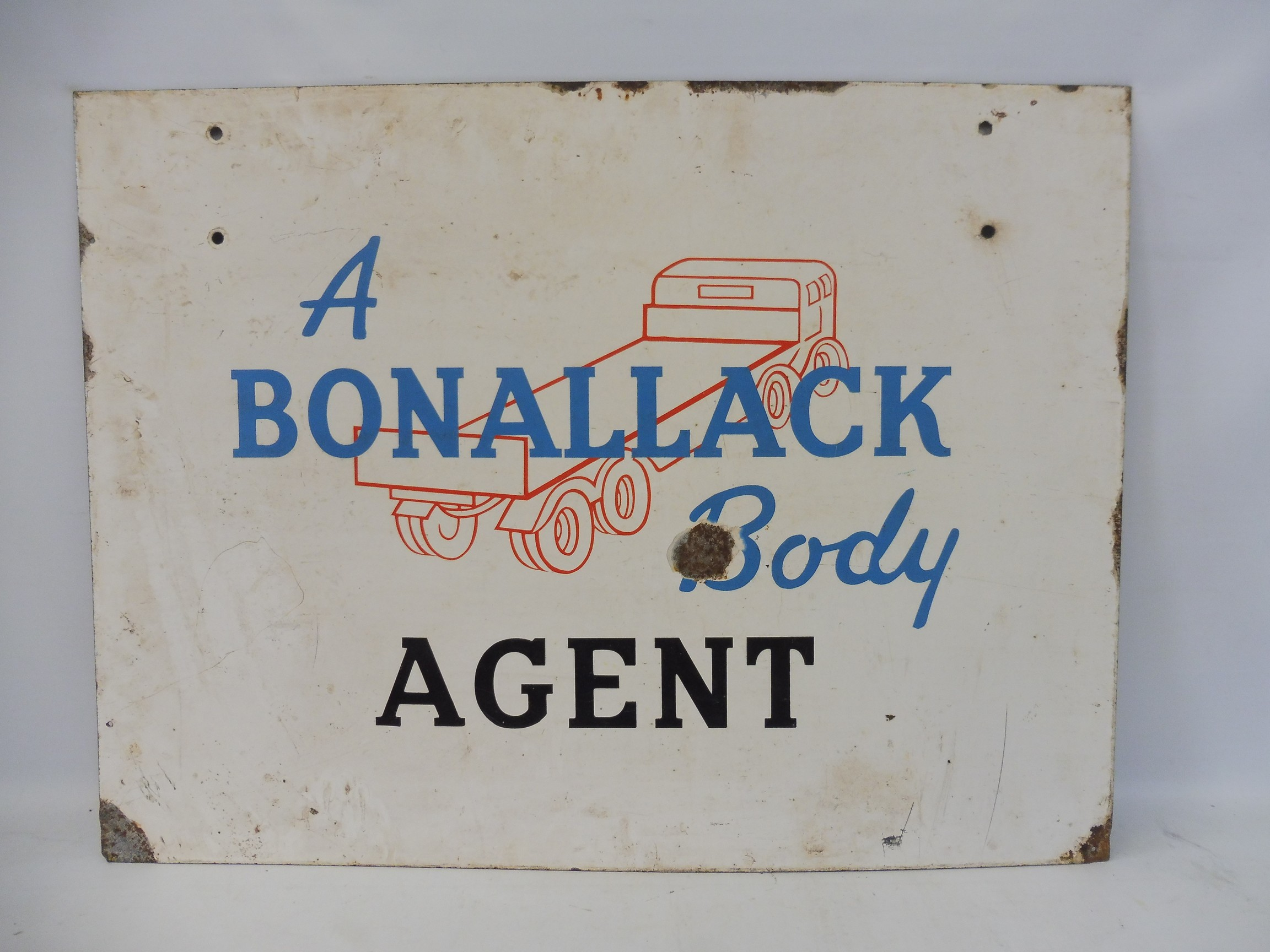 """A rectangular double sided pictorial enamel sign advertising 'Bonallack Body Agent', 36 x 27"""". - Image 2 of 2"""