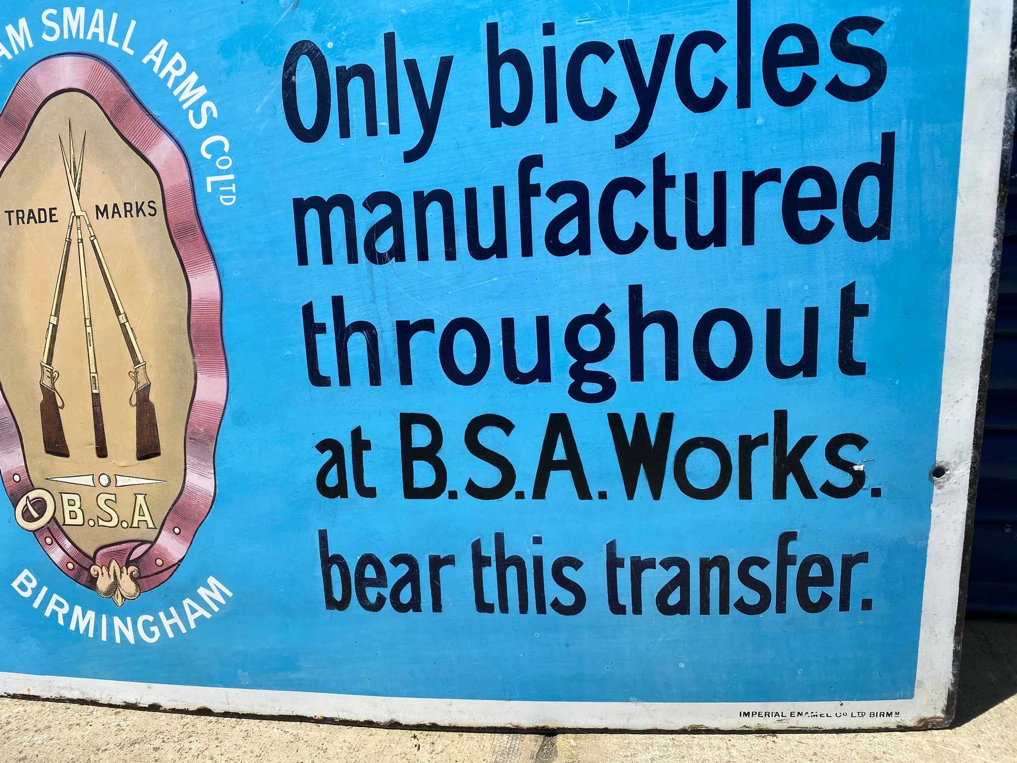 """A BSA Bicycle rectangular enamel sign, with some professional restoration, 28 x 44"""". - Image 3 of 5"""