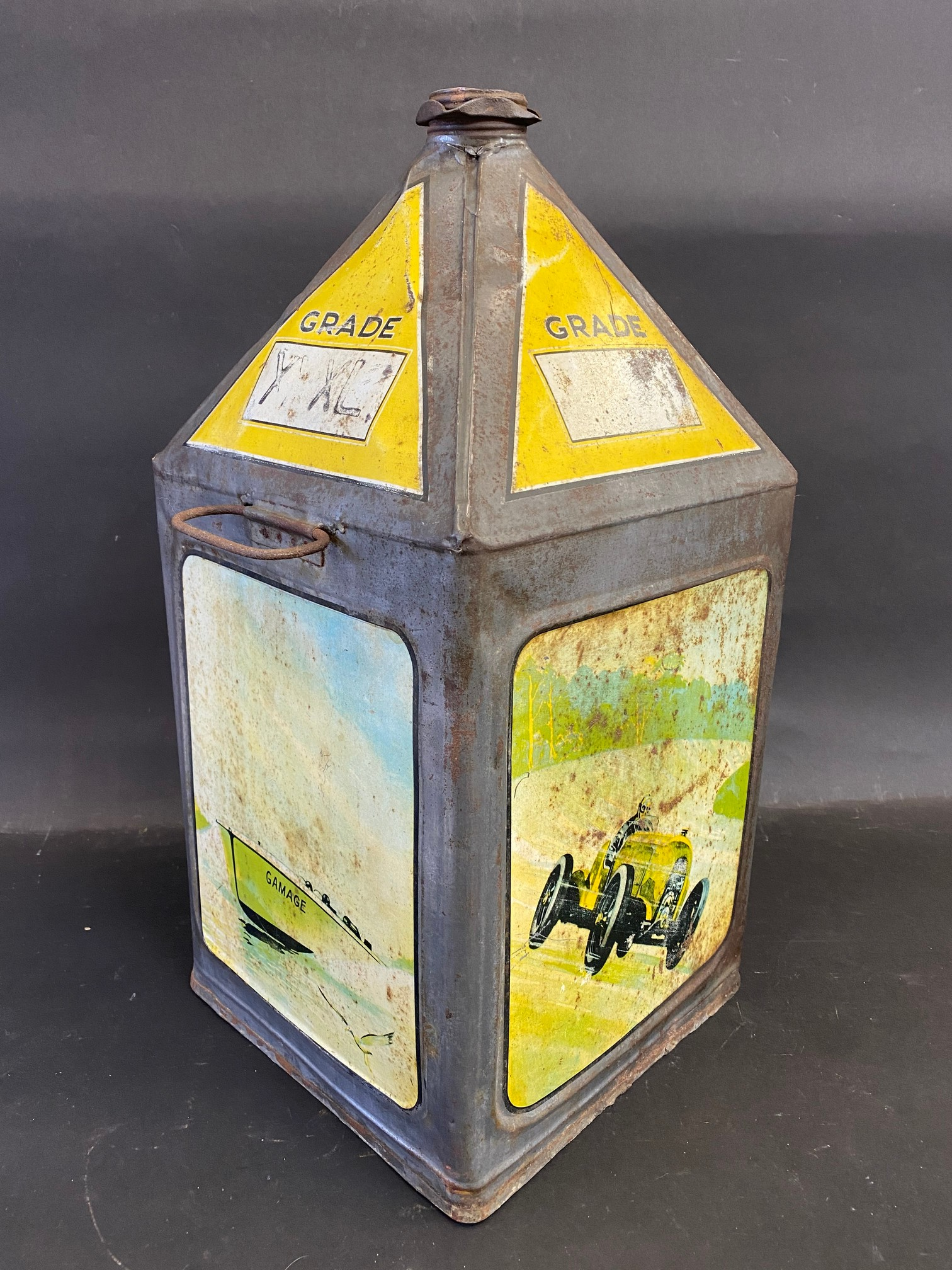 A Gamages Motor Oil five gallon pyramid can of good colour. - Image 2 of 4