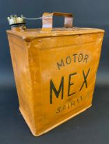 A Mex Motor Spirit two gallon petrol can with original brass cap and 'Mex' brass plate to the