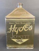 An incredibly rare Hyde's Jowett Oil square gallon pyramid can, in good original condition.