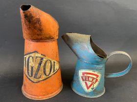 A Vigzol quart oil measure and a Fina pint measure.