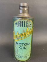 A rare White's Motovalvine Motor Oil cylindrical quart can.