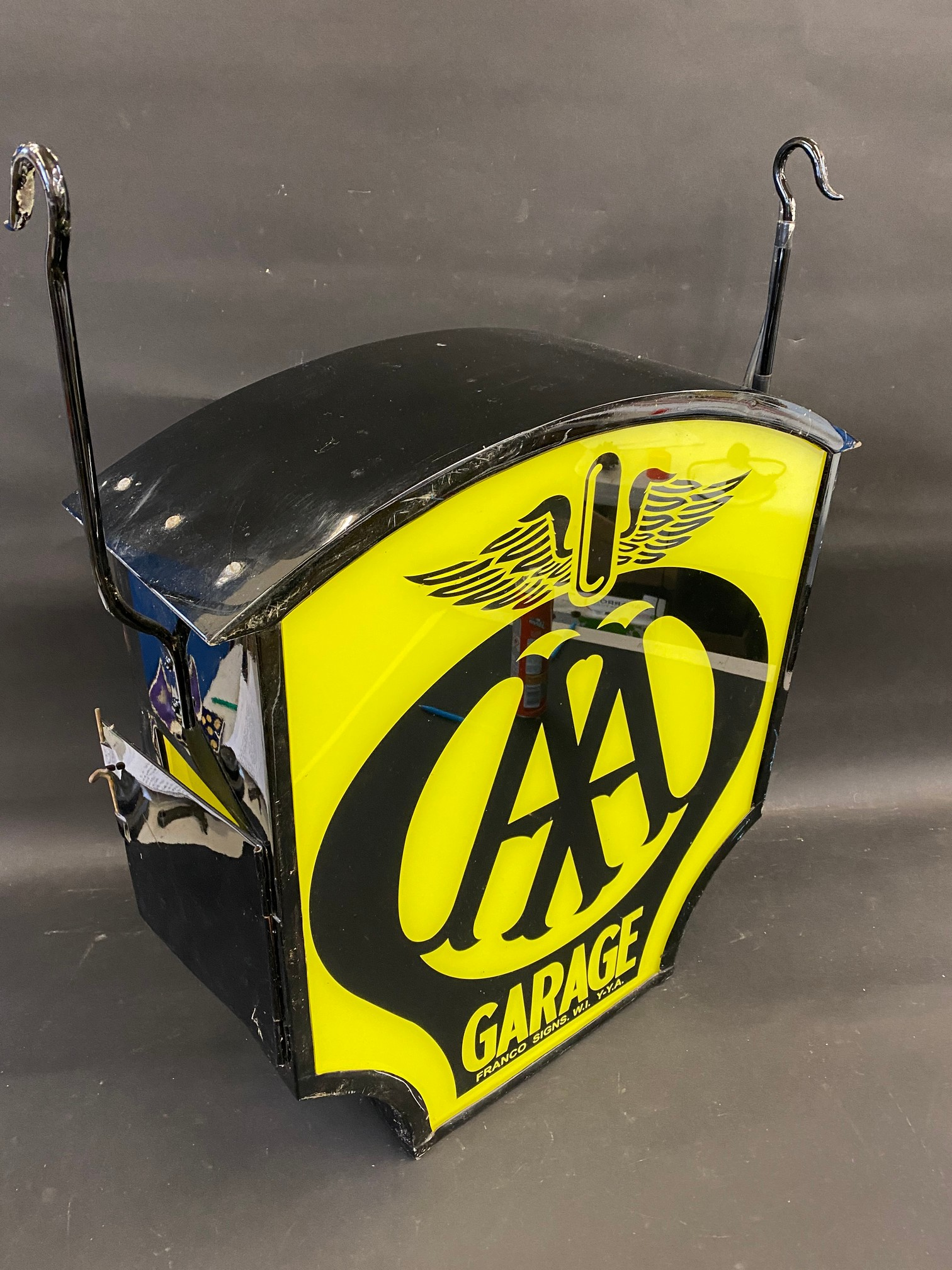 """A decorative dome-topped hanging lightbox bearing AA garage emblem to both sides, 23 1/2"""" wide x 24"""" - Image 2 of 2"""