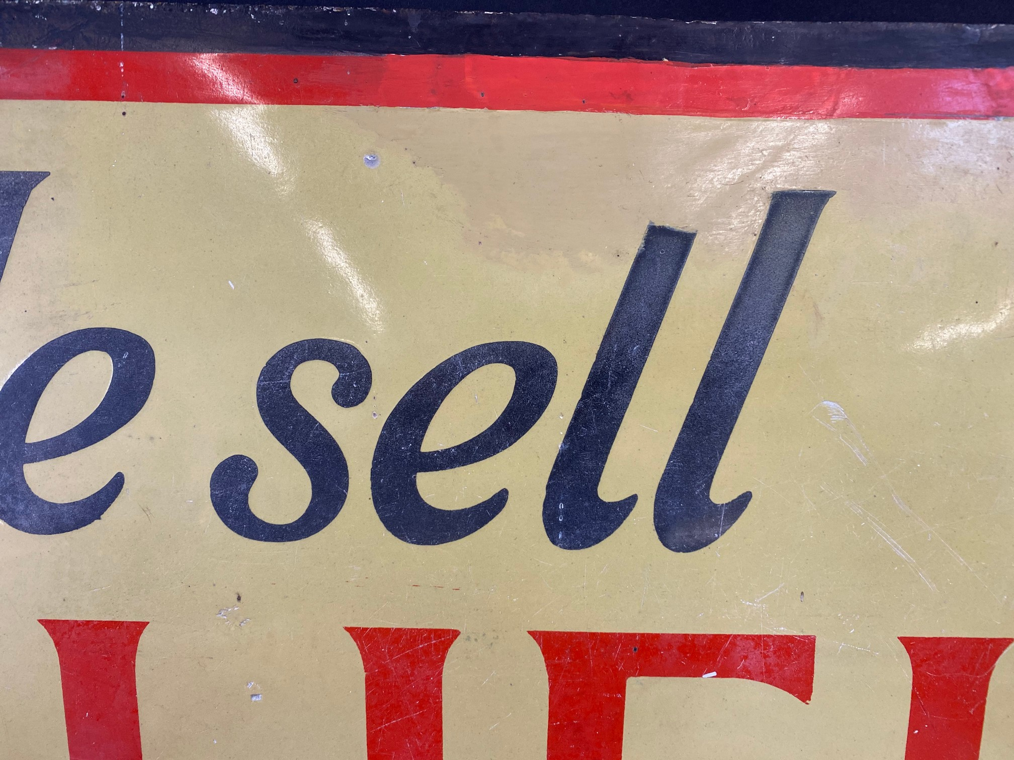 A Shell Lubricating Oils 'Every Drop Tells' pictorial enamel sign with some patches of - Image 3 of 8