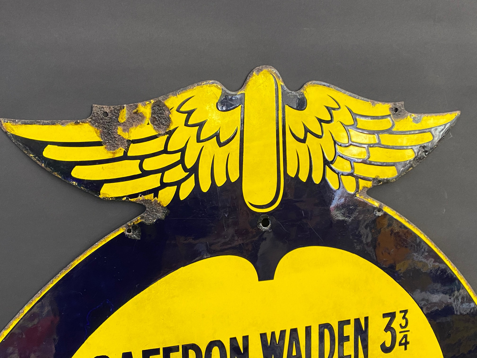 An early AA and Motor Union enamel location sign for Howlett End, Saffron Waldon 3 3/4 miles, the - Image 2 of 6