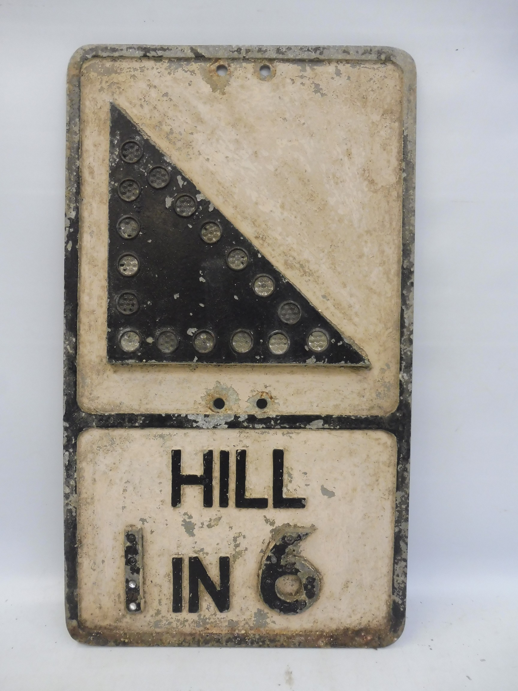 """An aluminum road sign - Hill 1 In 6, with glass reflective discs, 12 x 21""""."""