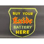 """An Exide Battery shield-shaped enamel sign by Stocal, 21 x 24""""."""