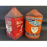 A Vigzol five gallon oil drum, plus a Miller Oils five gallon drum.