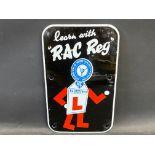 "An 'RAC Reg' Learner Driver enamel sign, 7 1/4 x 12""."