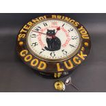 A rare Sternol wall clock bearing the words 'Sternol Brings You Good Luck', restored.