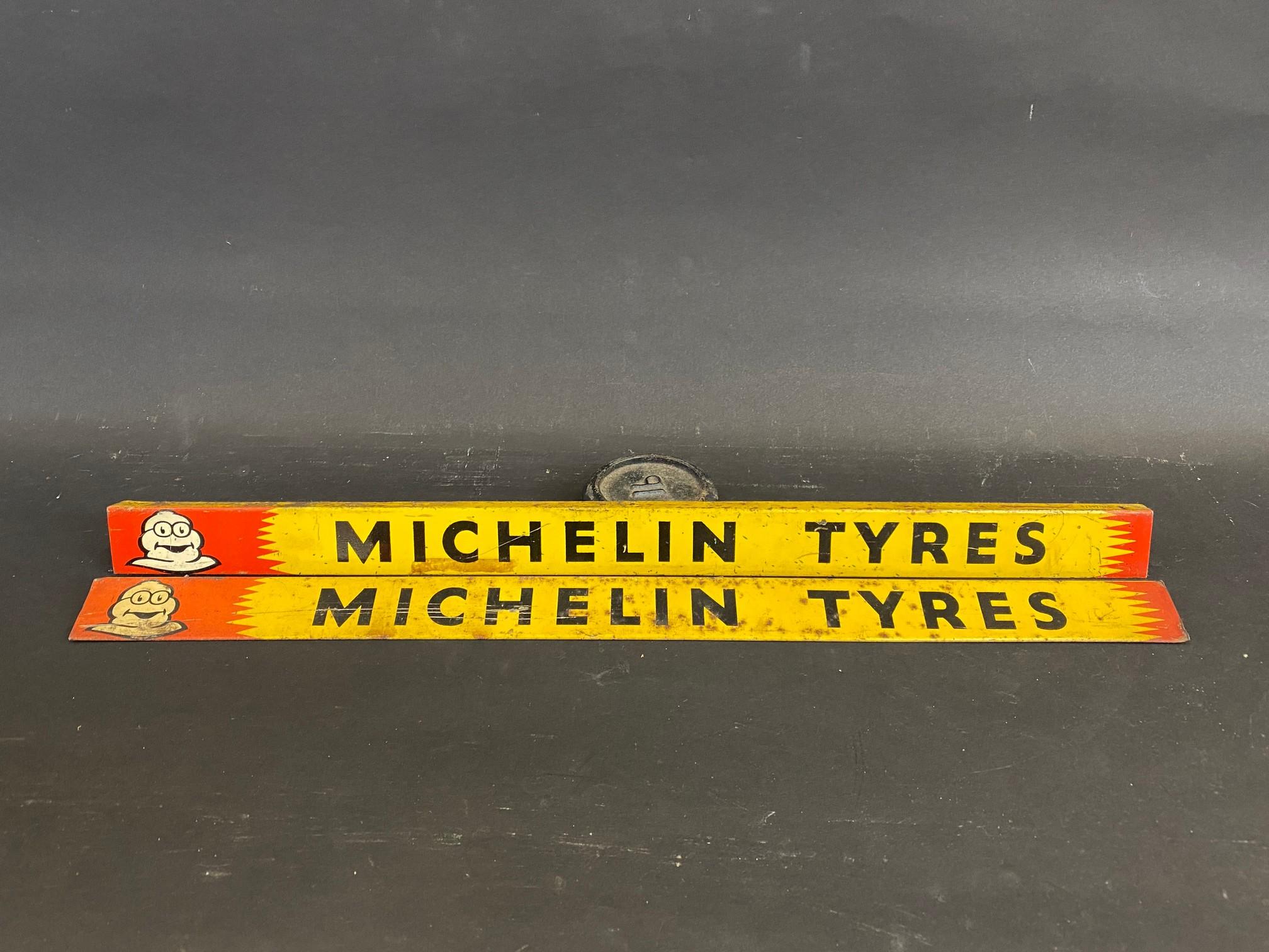 Two Michelin Tyres shelf strips.