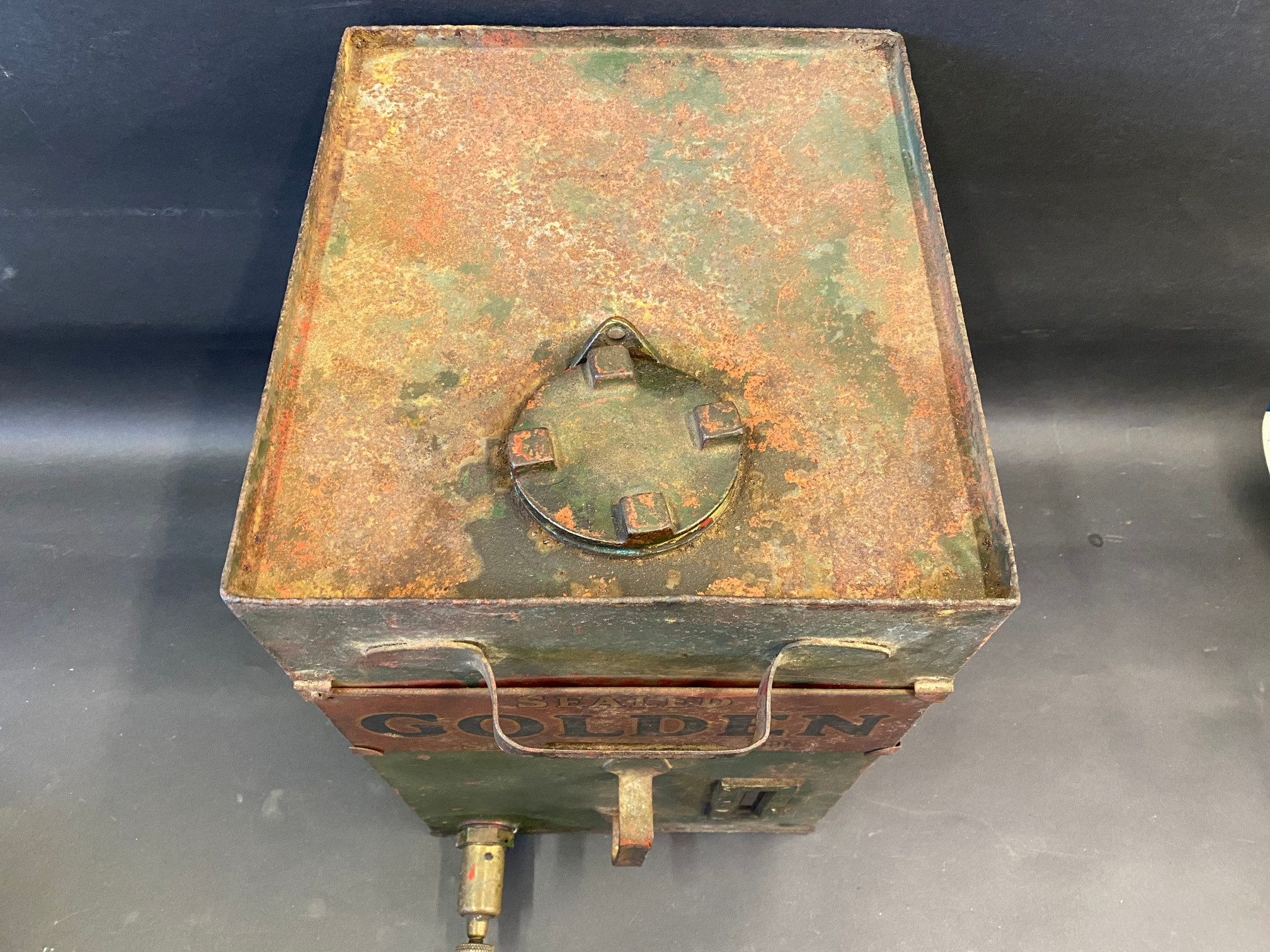 A Sealed Golden Shell motor oil cabinet tank. - Image 2 of 3