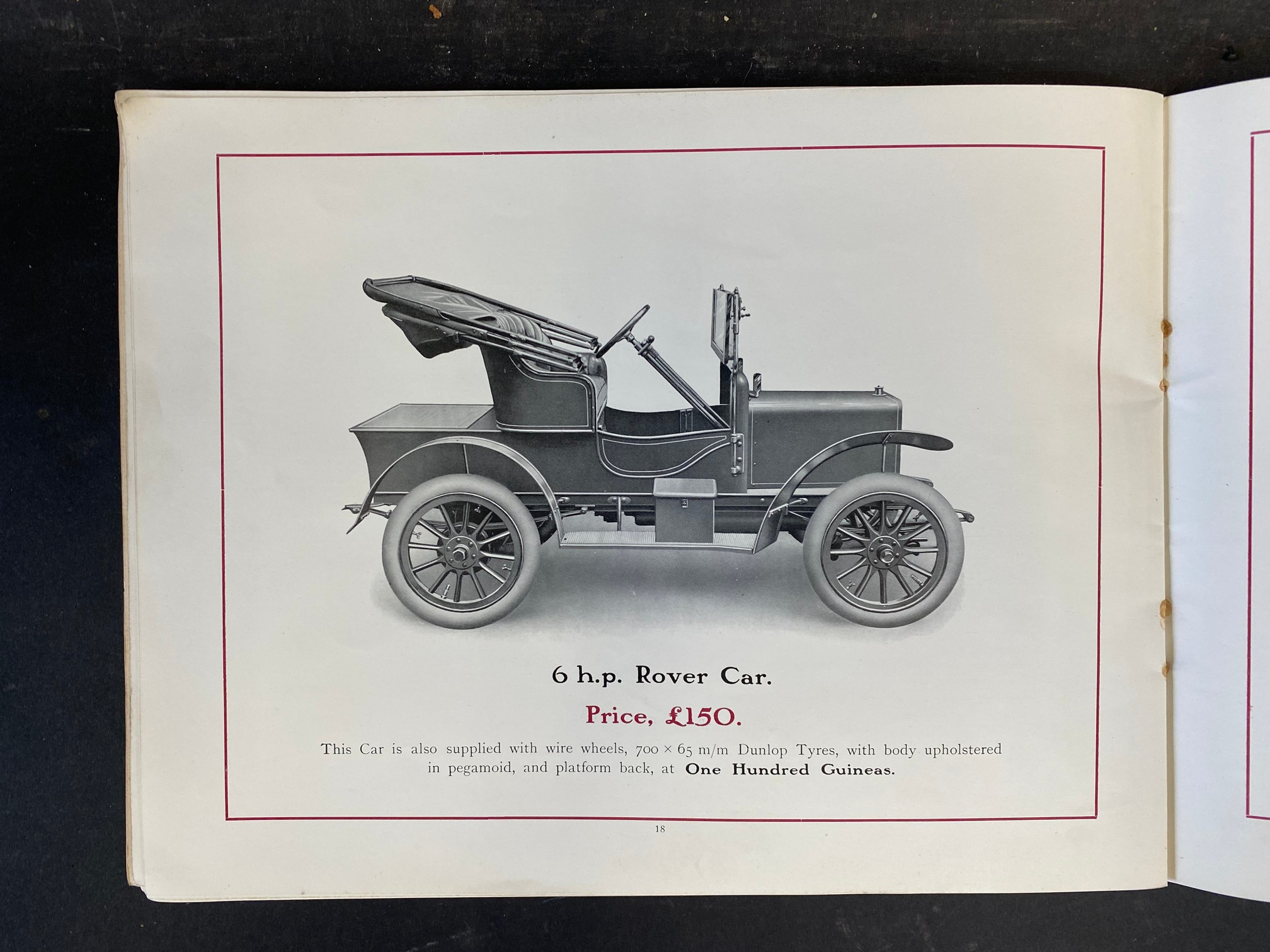 A Rover Cars sales brochure from 1909 featuring the 20hp, the 15hp, the 12hp, the 8hp and the 6hp. - Image 9 of 9