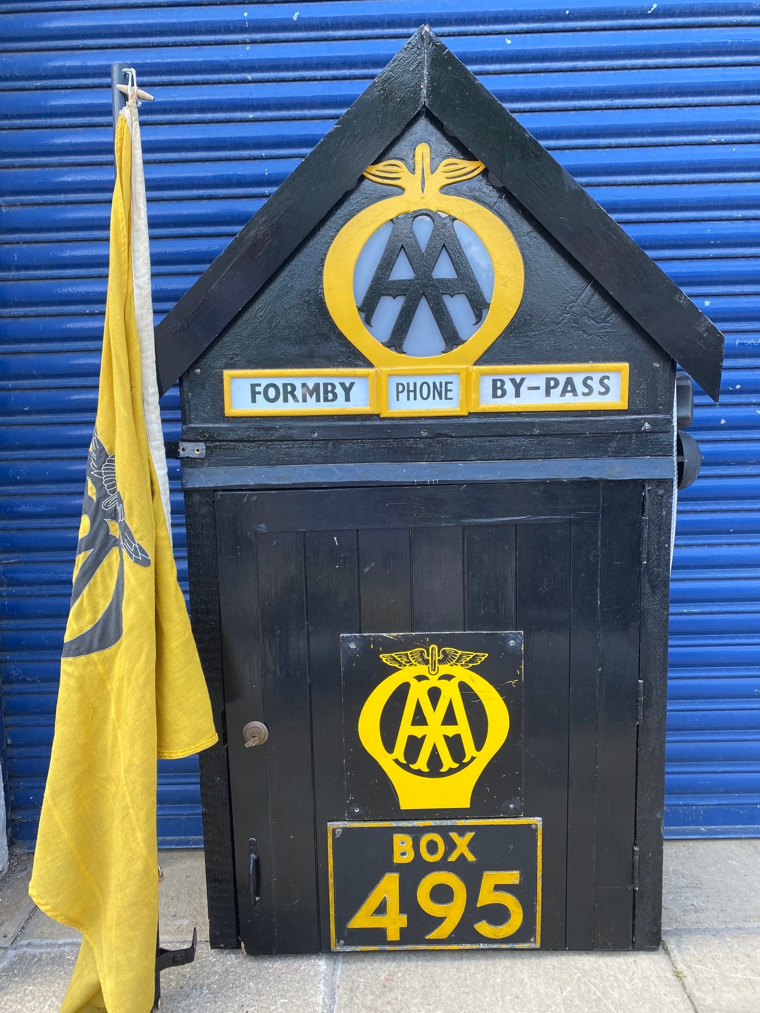 The complete contents and signage from the original AA Formby box, no. 495, removed when the box was