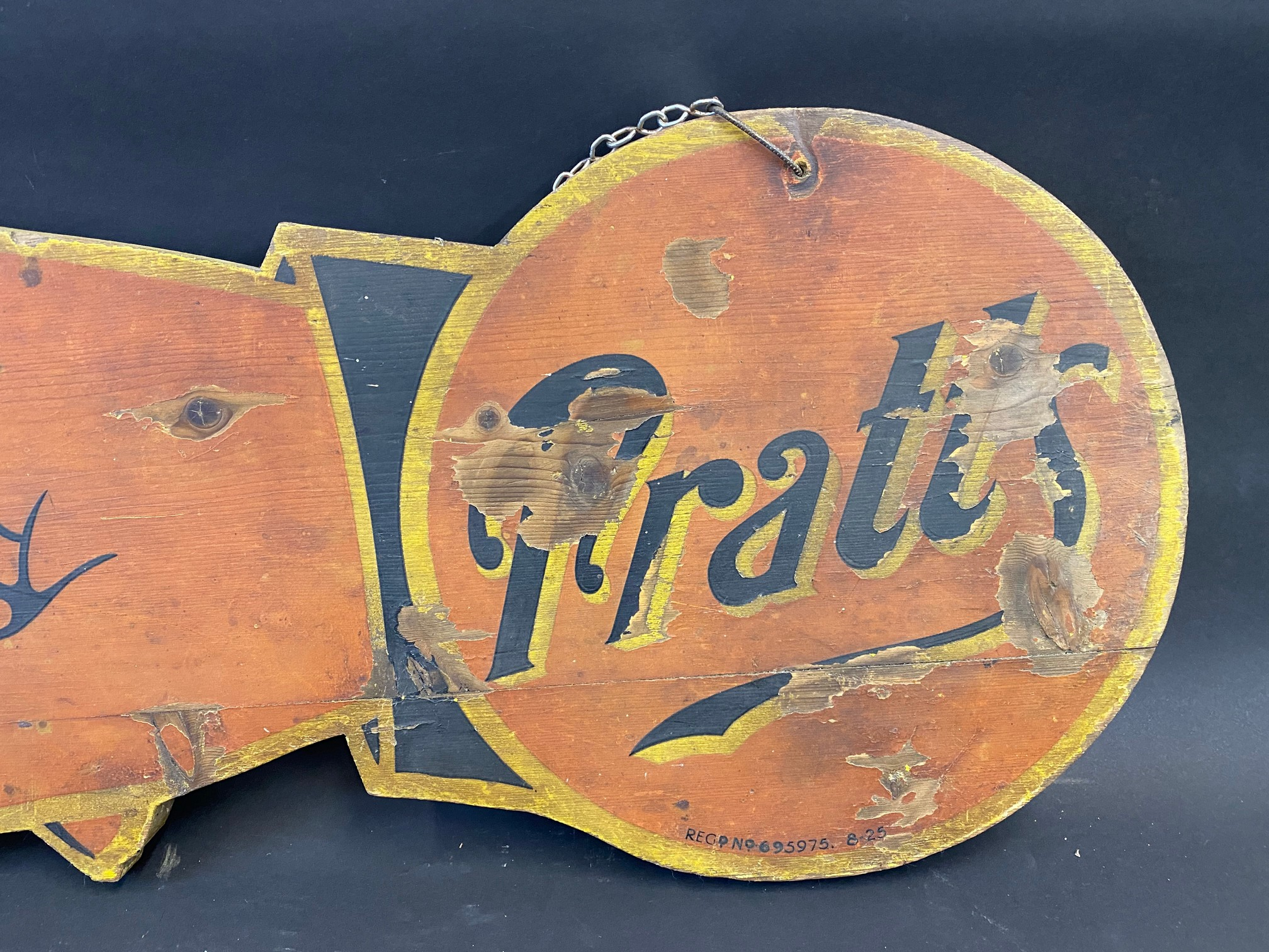 """An early Pratts painted wooden double sided directional 'pointing finger' sign dated 1925, 39 x 12"""". - Image 5 of 6"""