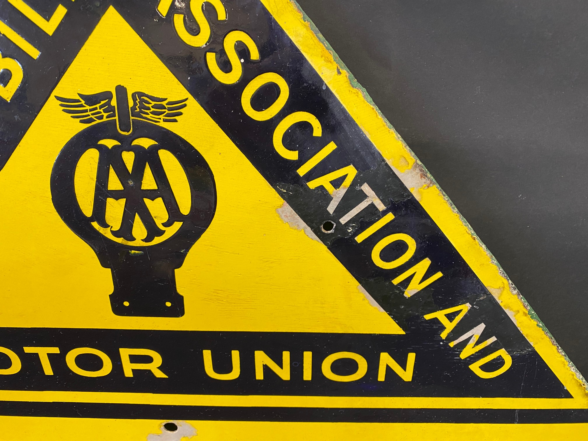 """An AA & Motor Union School enamel road sign by F. Francis & Sons Ltd. of Deptford, 21 1/2 x 26"""". - Image 2 of 5"""
