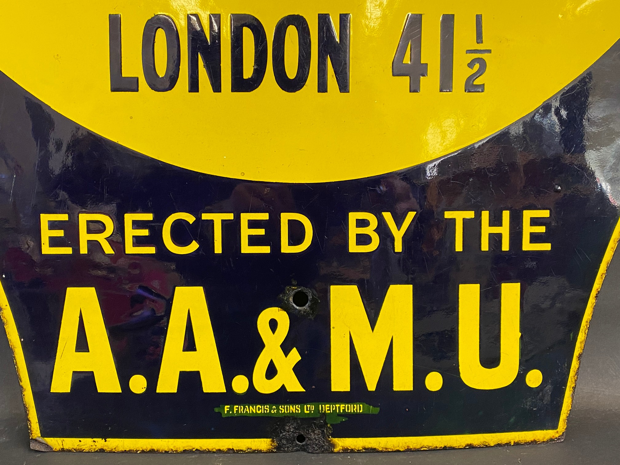 An early AA and Motor Union enamel location sign for Howlett End, Saffron Waldon 3 3/4 miles, the - Image 5 of 6