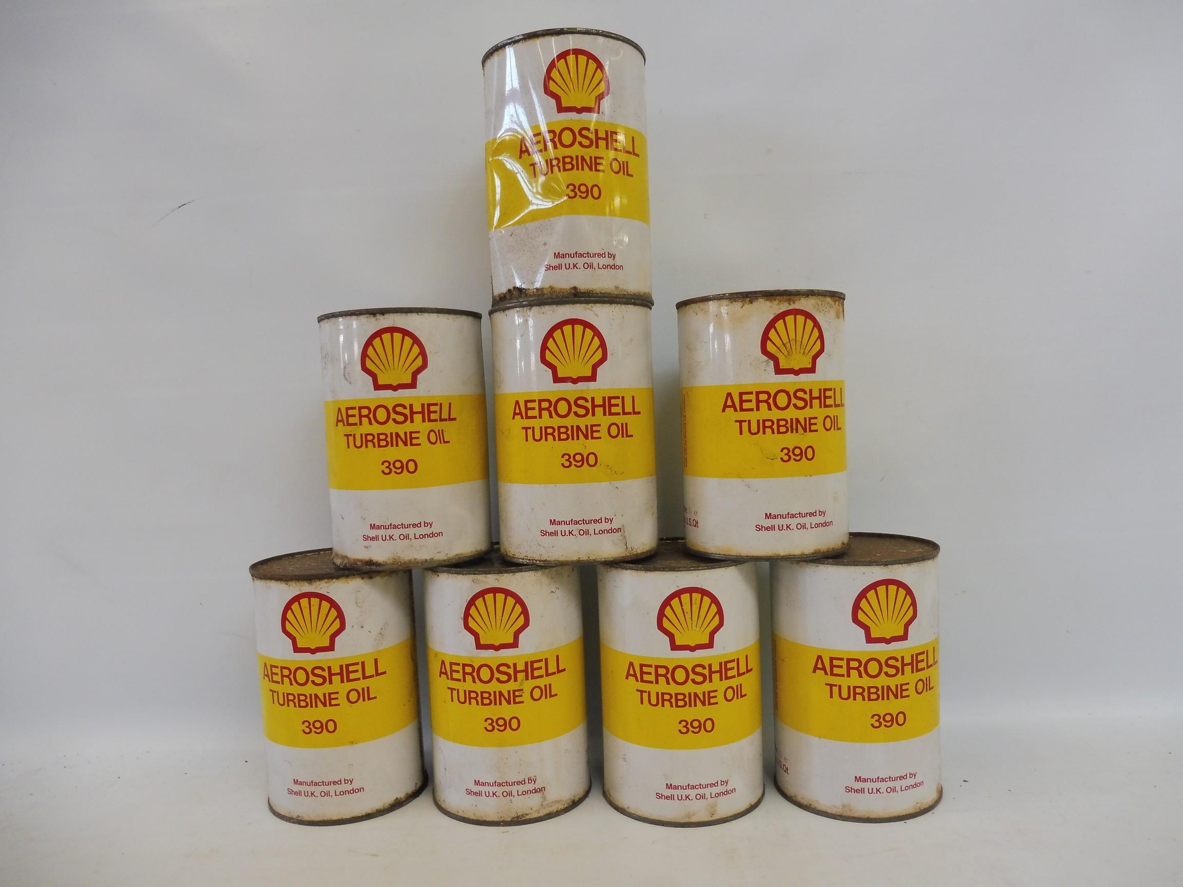 Eight unopened litre cans of Aeroshell Turbine oil.