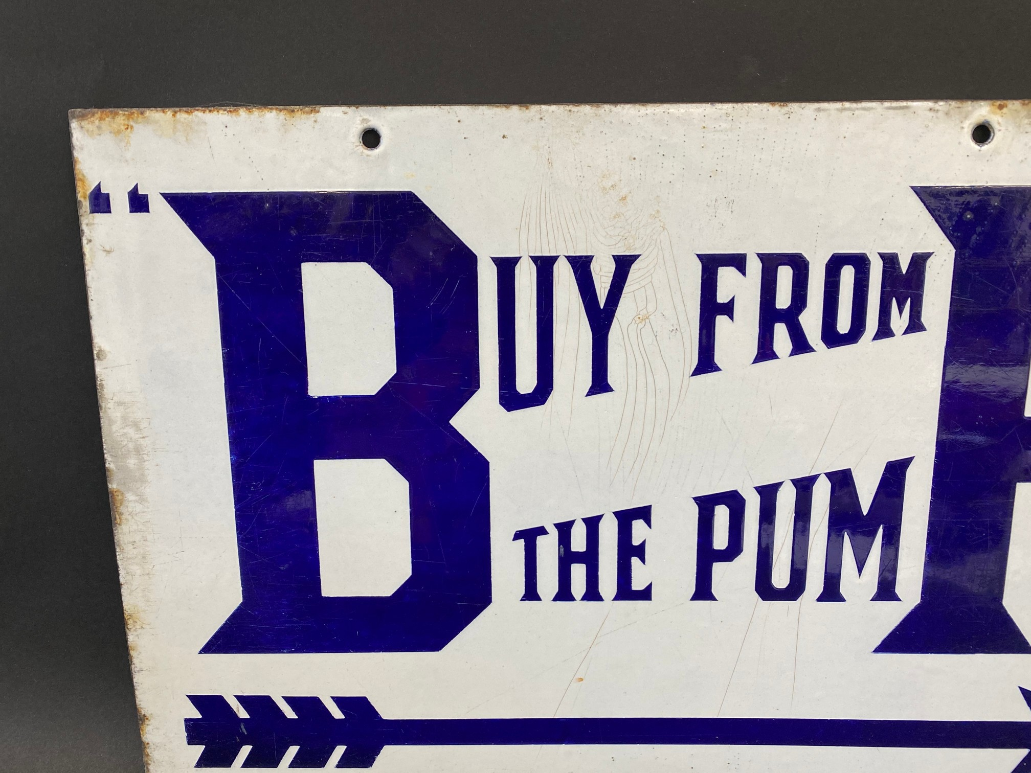 A BP 'Buy from the Pump' rectangular double sided enamel sign with good colour and gloss, by - Image 4 of 5
