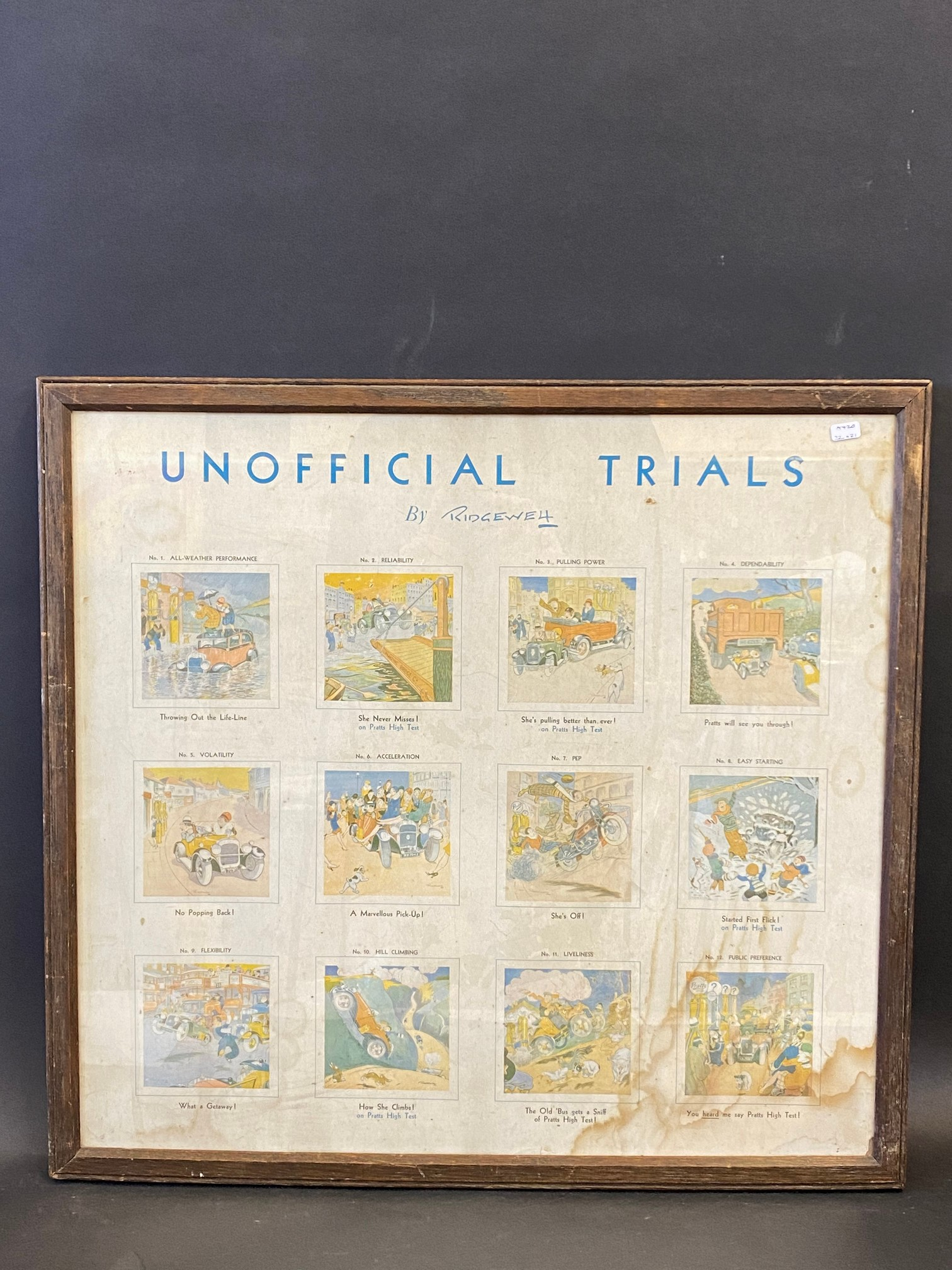 """A framed and glazed Pratts pictorial advertisement titled 'Unofficial Trials', 22 x 21""""."""