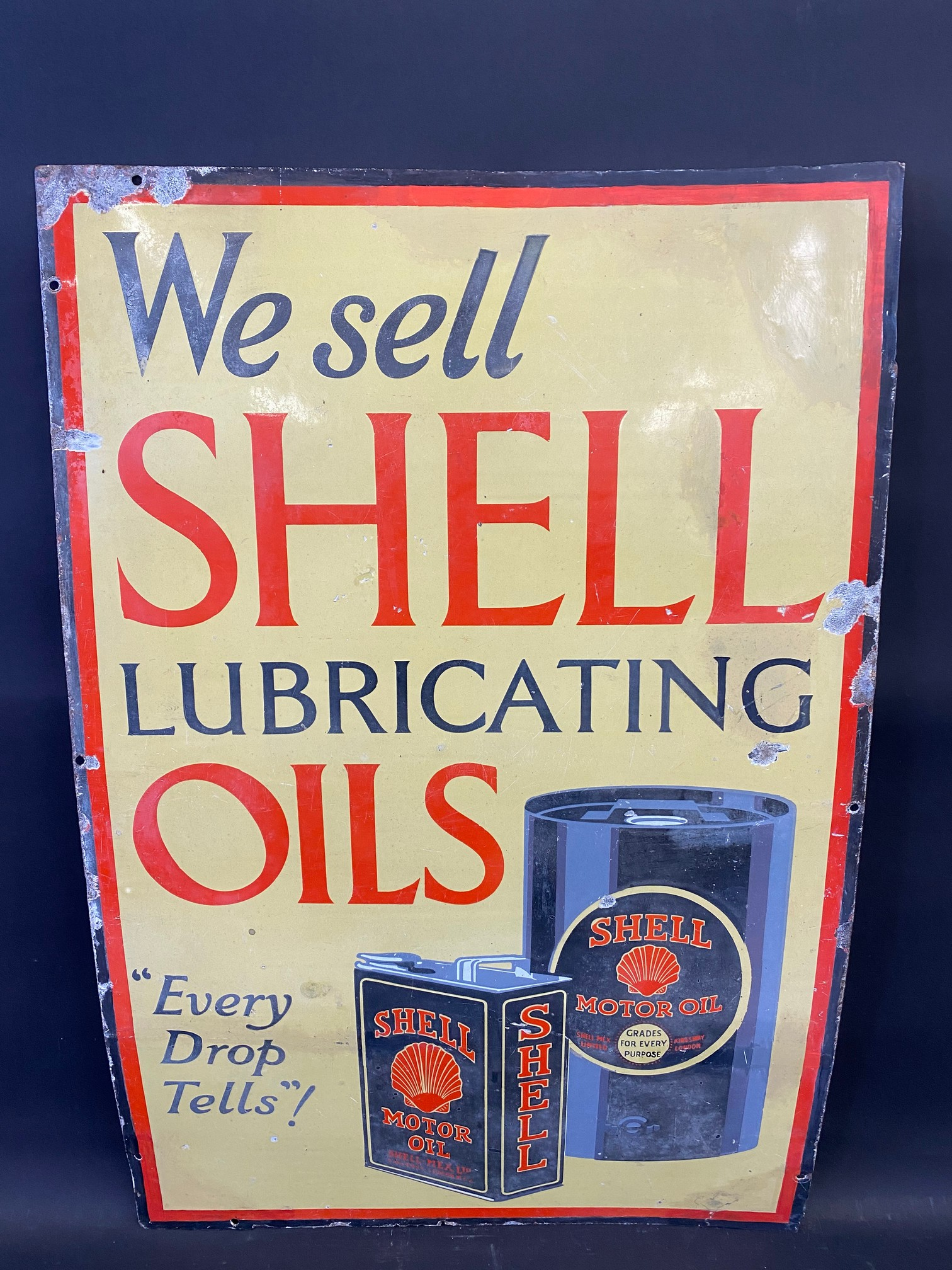 A Shell Lubricating Oils 'Every Drop Tells' pictorial enamel sign with some patches of