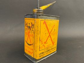 A Redex Upper Cylinder & Spring Oil rectangular pint can with long spout.