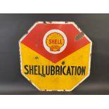 "A Shell 'Shellubrication' octagonal double sided enamel sign, 20 x 20""."